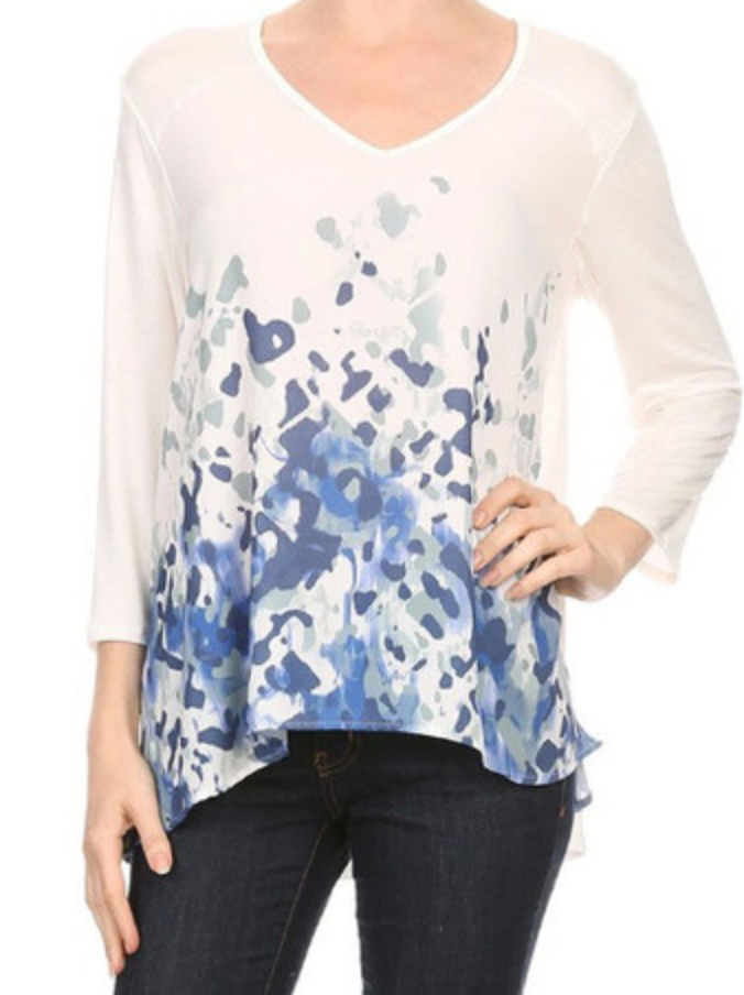 Ivory/Blues Print Top