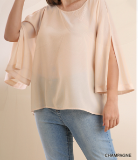 Flare-Sleeve-Top-with-Arm-Slits---Champagne---CUTE-CURVY-SIZES!!!