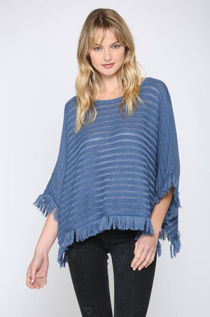FATE - FRINGED PULL OVER PONCHO (FC-212)