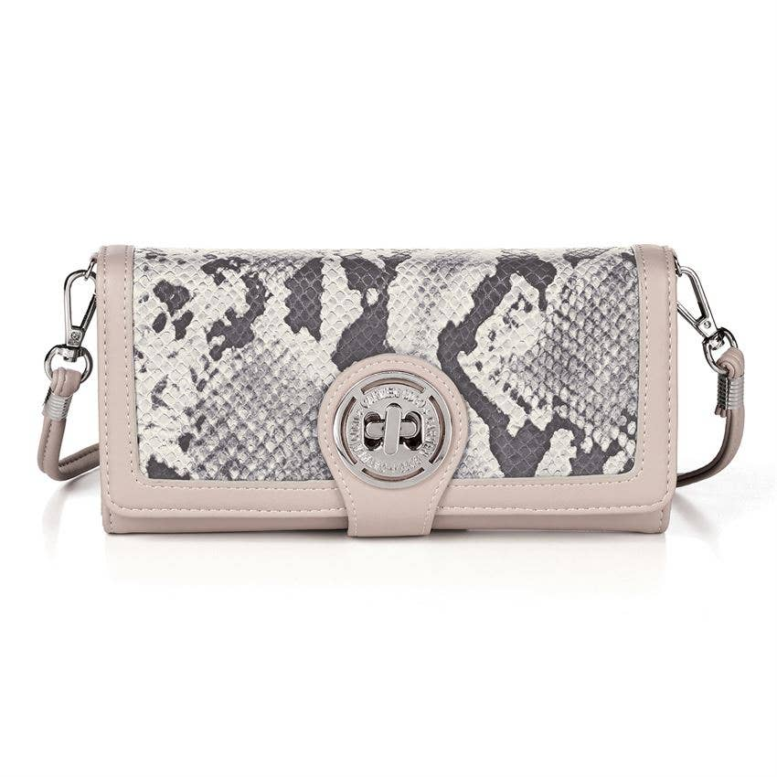 Coco + Carmen - Reese Turnlock Wallet - Latte / Python