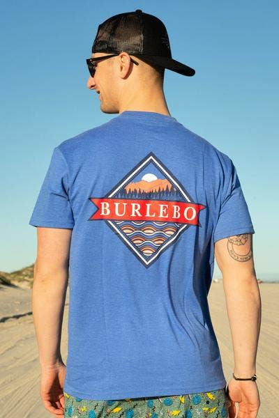 BURLEBO - Signature Logo Heather Flo Blue Short Sleeve Tees