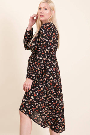 Floral printed woven midi dress- CURVY