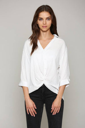 FATE - SHORT SLEEVE TWIST FRONT BUTTON DOWN SHIRT (WHITE )