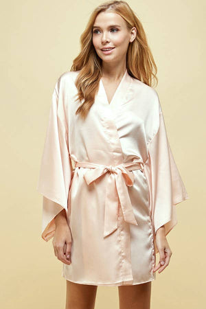 Solid Satin Casual Fit Lounge Robe Kimono   BLUSH