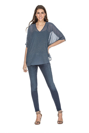 Swiss Dot V Neck Pullover