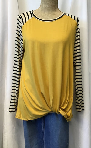 Contrast Raglan Stripe Pleated Top