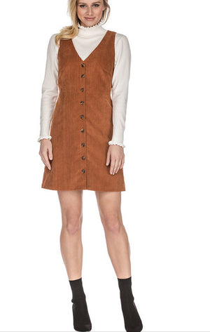 VNeck Button Corduroy Dress