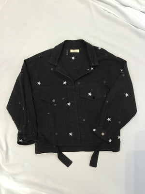 White Stars Black Denim Jacket