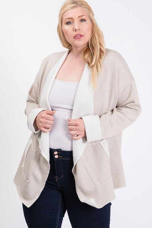French Terry Waterfall Open Cardigan