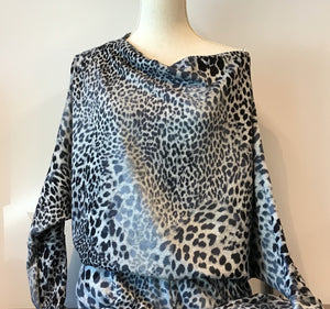 Off Shoulder Top - grey leopard print