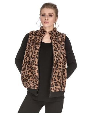 Brown Leopard Faux Vest