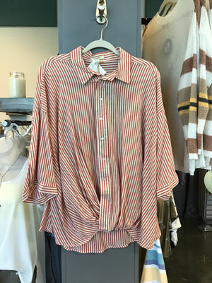 Cute-and-Comfortable-Rollup-Sleeve;-Striped-Cotton-Top