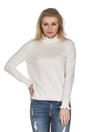 Ruffled Turtleneck Sweater