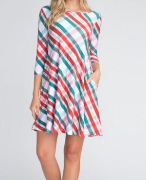 Christmas-inspired-Dress/Tunic--Green/Red