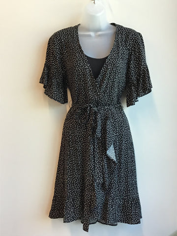 Faux Wrap Dotted Dress