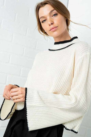 Contrast Hem Mock Neck Sweater