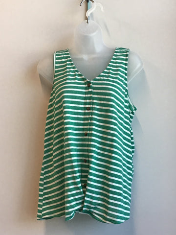 Striped V Neck Top with HiLo Hem