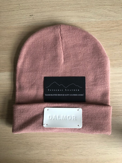 Leather patched beanie