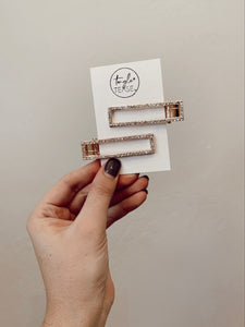 Rose Gold Rectangle Clip