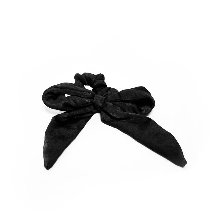 Small Scrunchie Scarf - Black Silk
