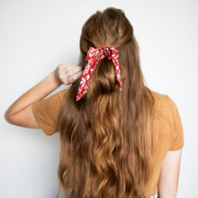 Load image into Gallery viewer, Small Scrunchie Scarf - Leafy Crimson