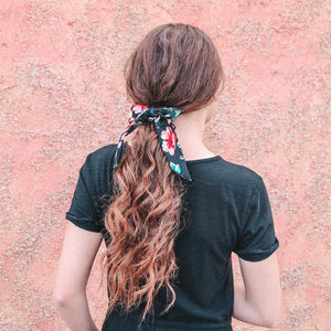 Small Scrunchie Scarf - Black Floral