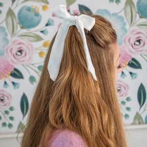 Small Scrunchie Scarf - White Silk