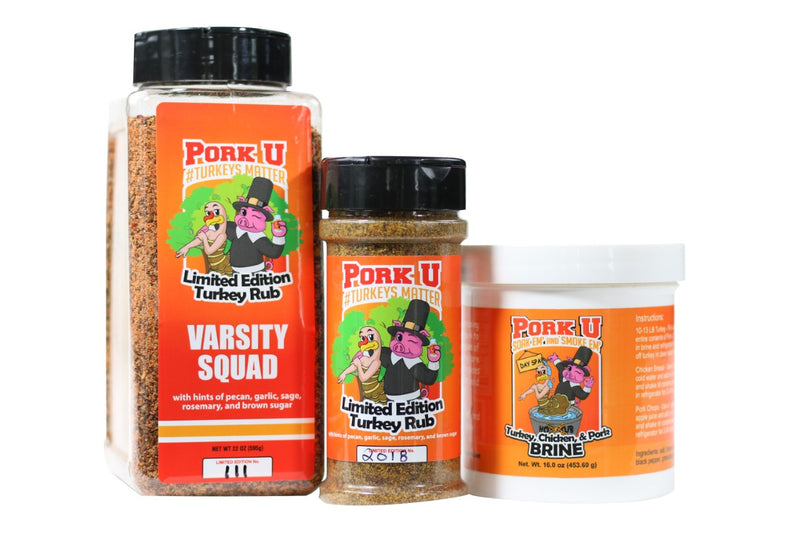 The perfect turkey combo from Pork U.  Brine and pecan turkey rub will make your thanksgiving perfect whether cooked in the kitchen or on the grill!