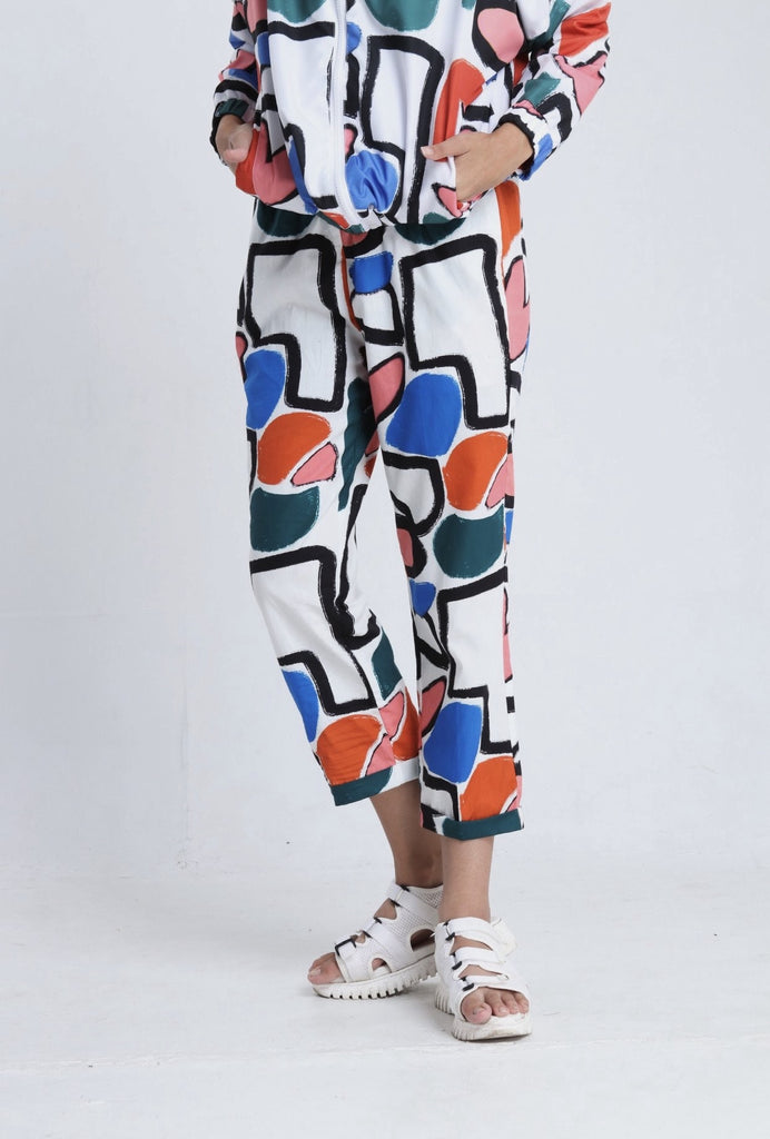 ABSTRACT WHITE RUBBER WAIST PANTS