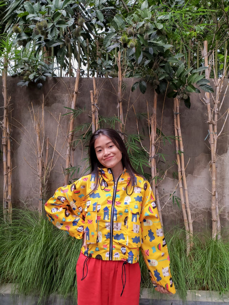 YELLOW GIRLS CROP JAKET