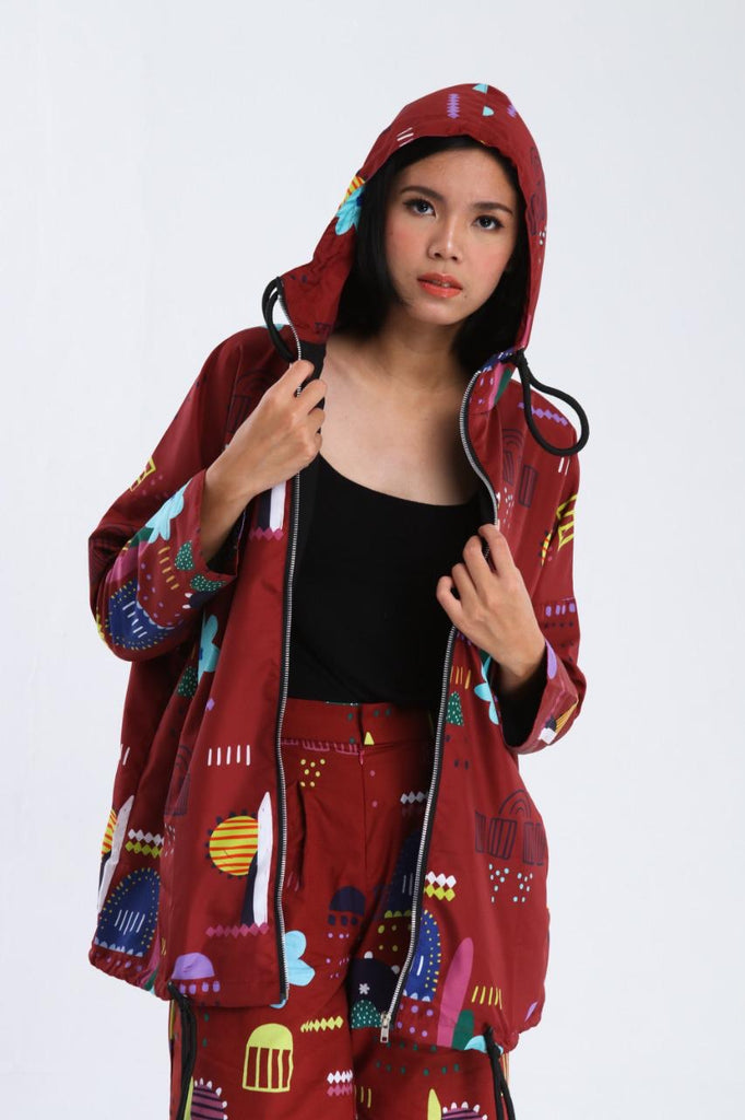 ANNA RED NYLON LONG JACKET
