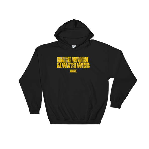 Hard Work Always Wins Distressed Hooded Sweatshirt