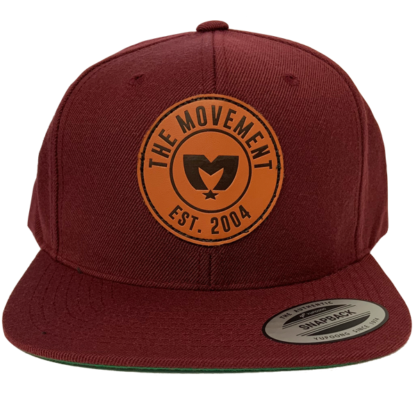 Maroon Leather Patch Hat