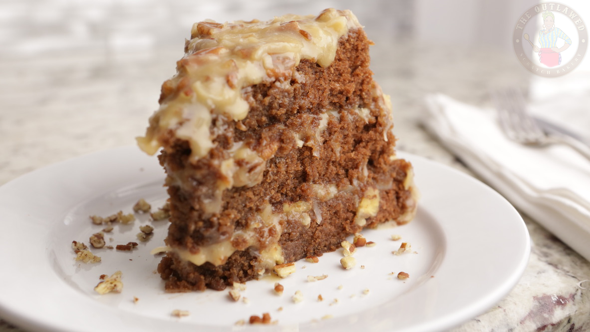 Moist, tender and sweet chocolate cake topped with a delectable, buttery coconut-pecan frosting.