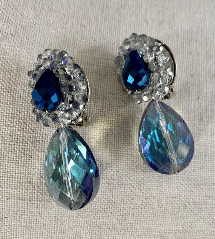 Sale Clip on Double Drop Crystal Earrings