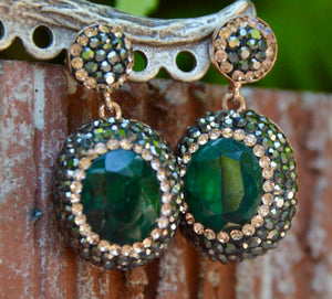 Green Malachite and Hematite Crystal Earrings