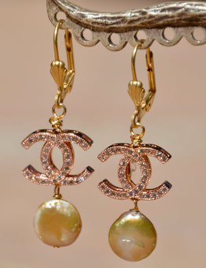 "Gold Plated ""C"" Earrings with Pearls"