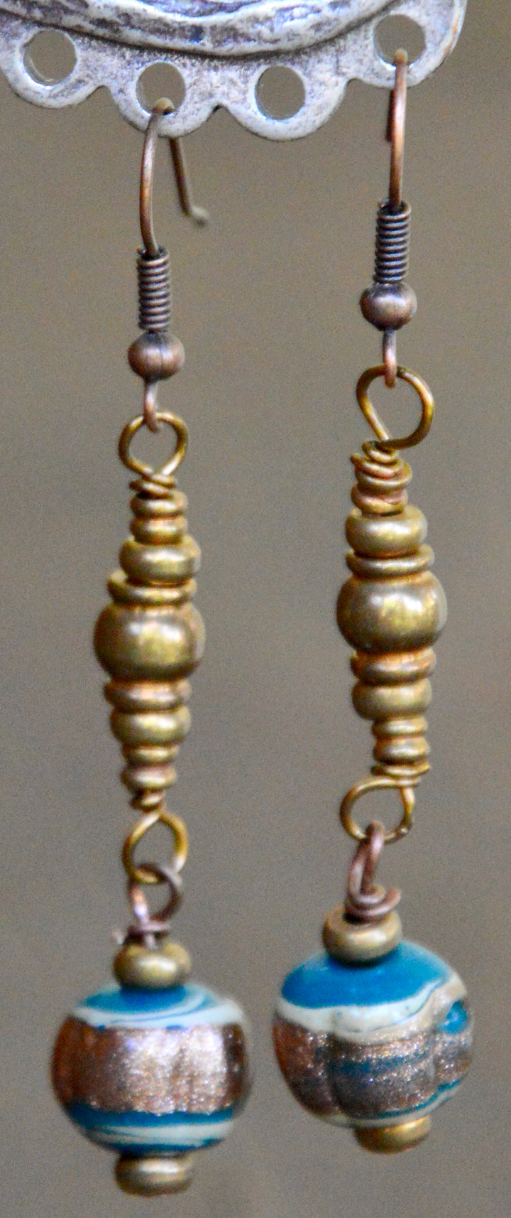 African Beads and Bronze Earrings