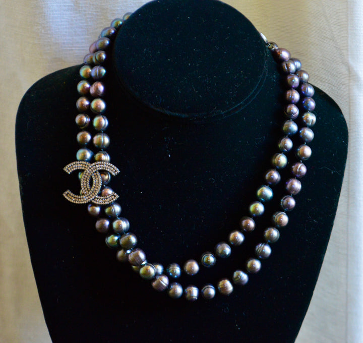 Long Strand of Peacock Pearls with Crystal Enhancer