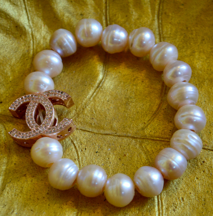 Stretch 20mn Pearl  and Crystal Bracelet