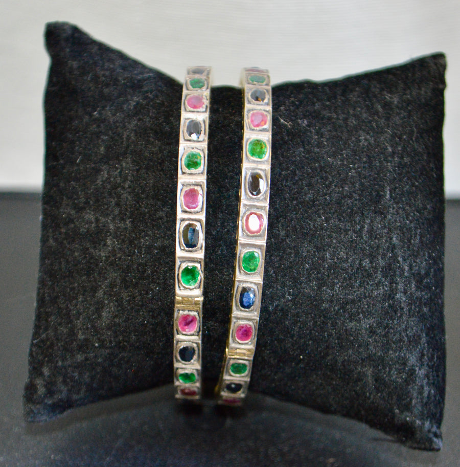 Hinged Multi Colored Gemstone Bracelet