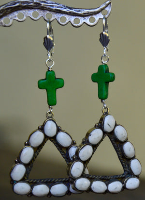 Sale Green and White Earrings