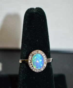 Fiery Opal and Diamond Ring