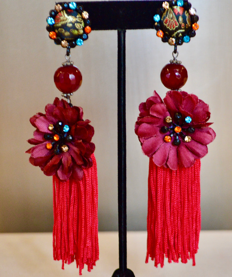 Fabric Drop Flower Earrings