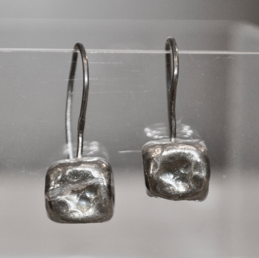 Silver Square Hook Earrings