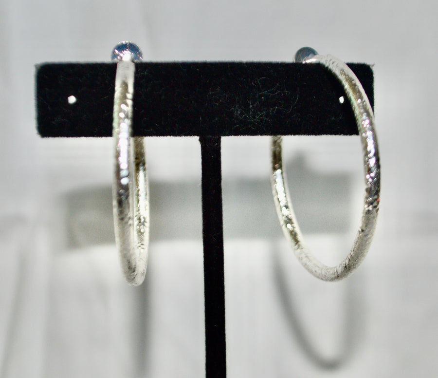 Non pierced Silver Hoop Earrings