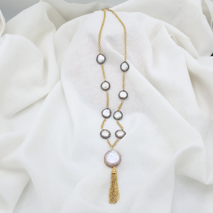 Golden Long Pearl Necklace