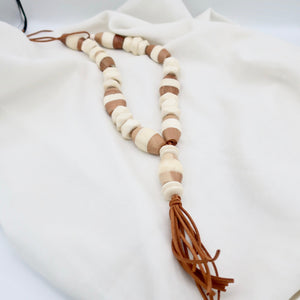 Sale White Horn and Wood Necklace