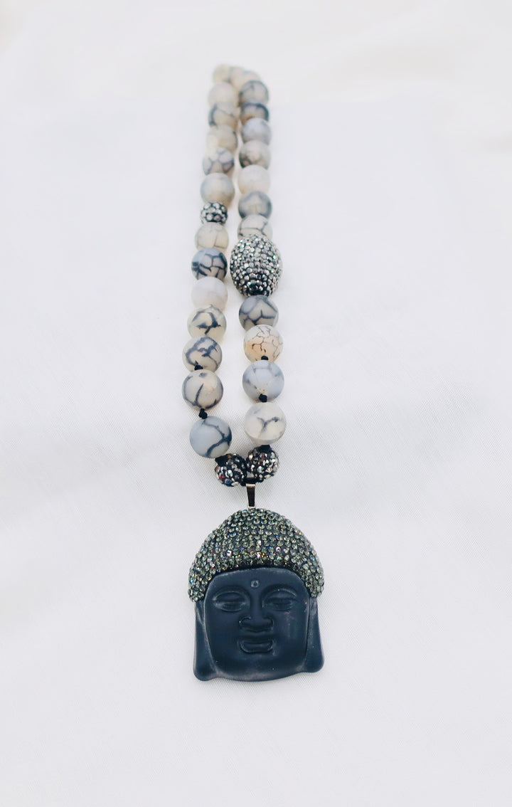 Agate Beaded Buddha Pendant Necklace