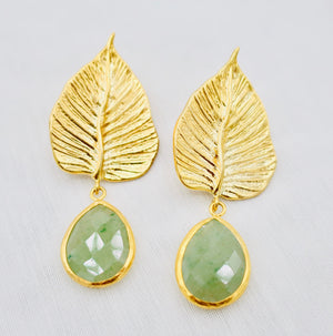 Golden Leaf with Green Drop Agate Earrings